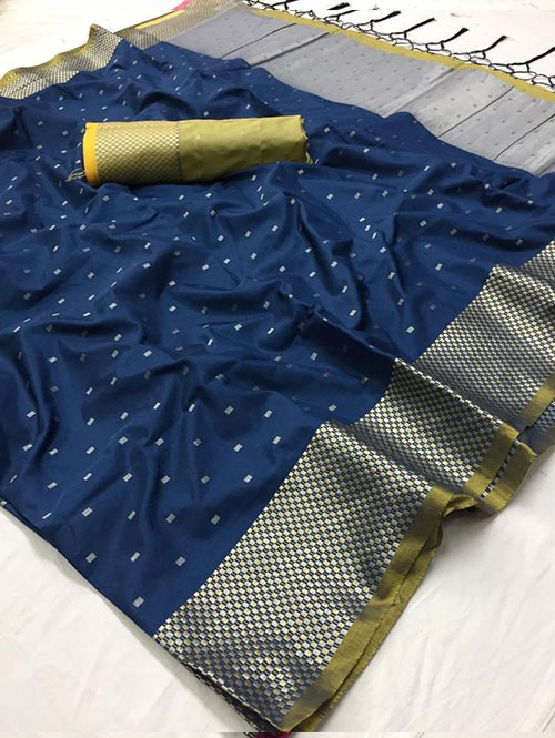 Blue Colored Beautiful Thousand Butta Of Zari Soft Saree