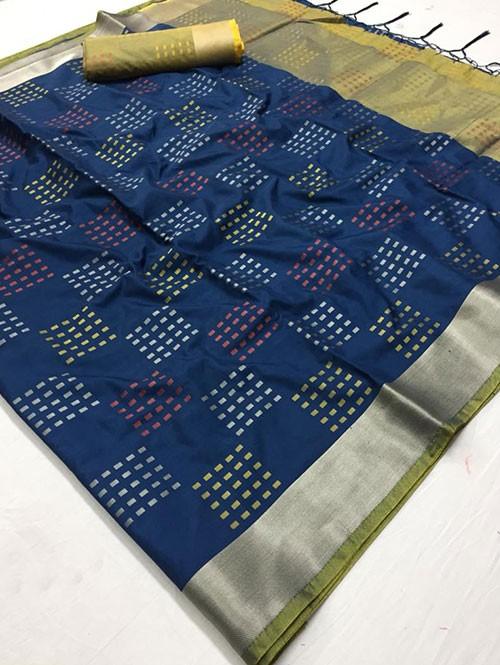 Blue Colored Beautiful Thousand Butta Of Zari Soft Saree - Kangan