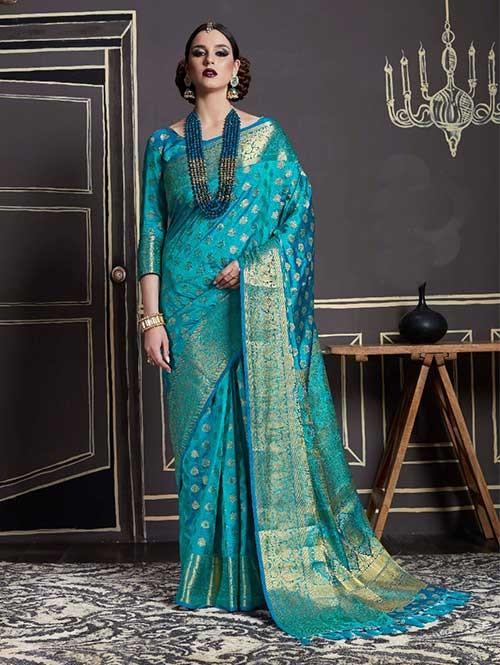 Blue-Kshama Silk
