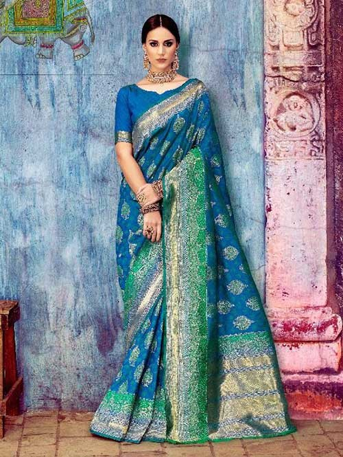 Blue Colored Beautiful Waving Silk Saree
