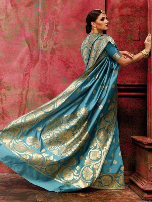 Blue Colored Beautiful Waving Silk Saree