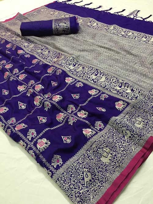 Blue Colored Beautiful Weaving Banarasi Silk Saree