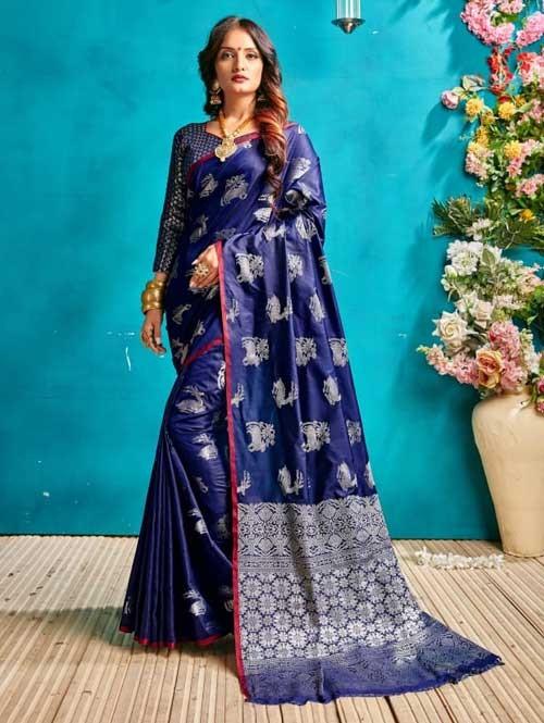 Blue Colored Beautiful Weaving Banarasi Silk Saree - Silver