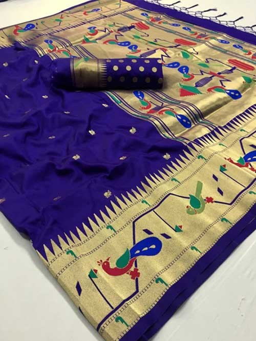 Blue Colored Beautiful Weaving Paithani Silk Saree - Paithani
