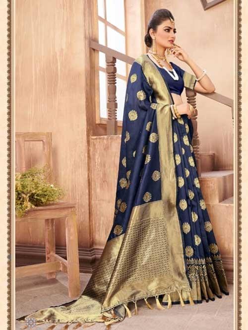 Blue Colored Beautiful Weaving Silk Saree - Digi Moda