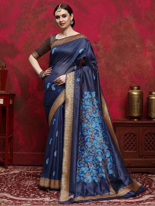 Blue Colored Beautiful Weaving Silk Saree - Kalika