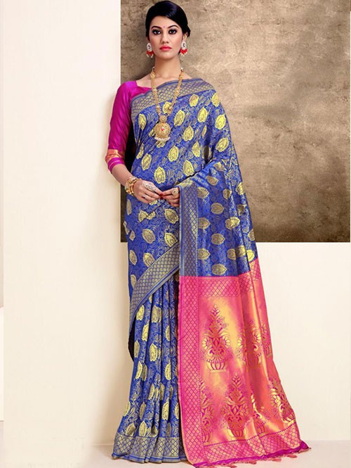Blue Colored Beautiful Weaving Silk Saree - Tanisi