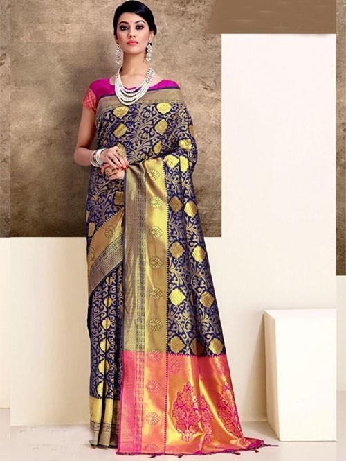 Blue Colored Beautiful Weaving Silk Saree - Tanisi