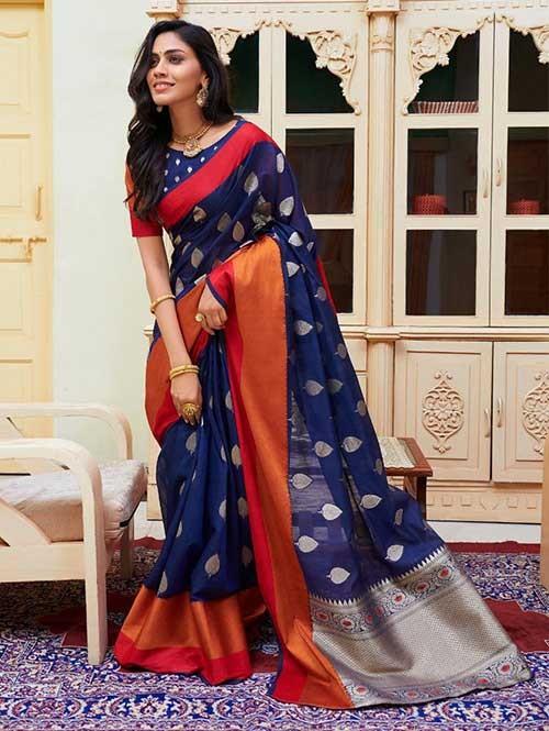 Blue Colored Beautiful Woven Linen Silk Saree - Kavya