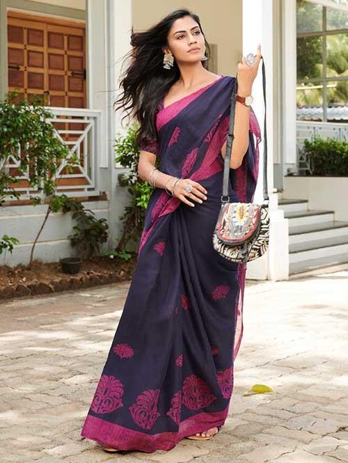 Blue Colored Beautiful Woven Linen Silk Saree - Pearl