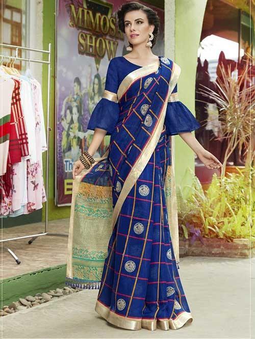 Blue Colored Beautiful Zari weaving Linen Silk Traditional Saree