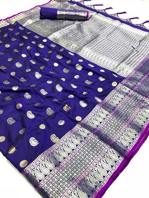 Blue Colored Beautiful Zari Weaving Saree Online