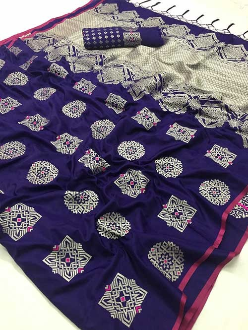 Blue Colored Branded Soft Silk Saree - Resham
