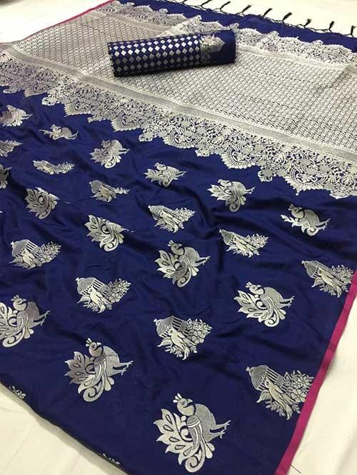 Blue Colored Branded Soft Silk Saree - Riddham