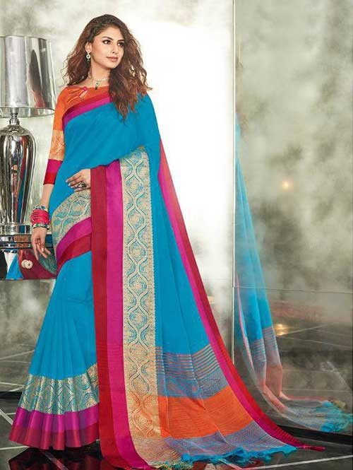Blue Colored Branded Weaving Silk Saree