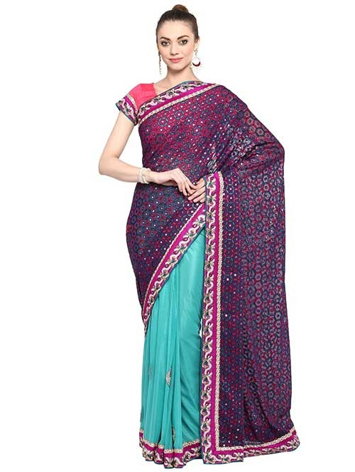 Blue Colored Brasso with Lycra Saree Has Beautiful Embroidered Border.