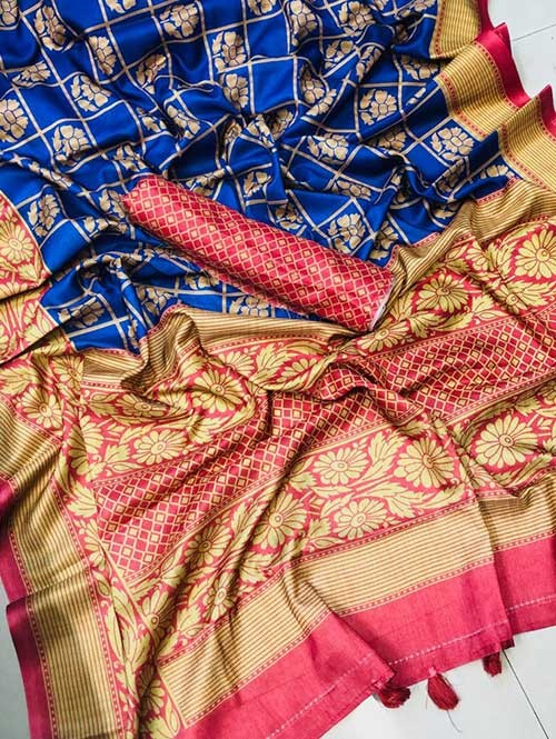 Blue Colored Cotton Base Saree - Chinya