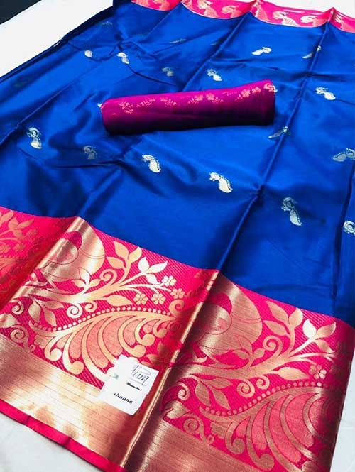 Blue Colored Cotton Silk Saree - Ahaana