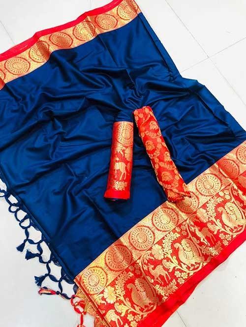 Blue Colored Cotton Silk Saree- Amazon
