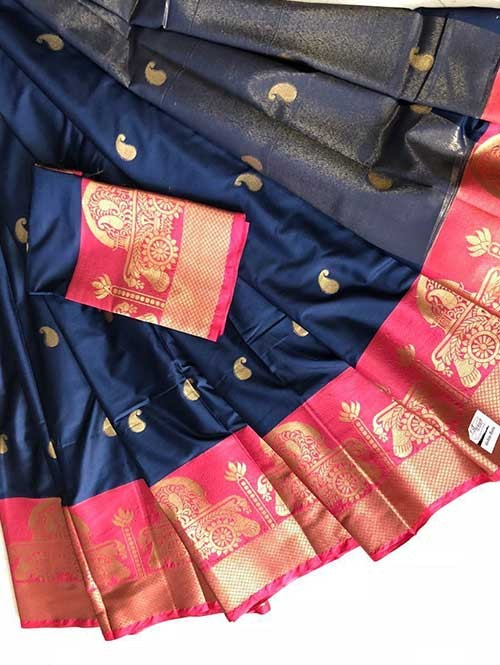 Blue Colored Cotton Silk Saree - Ashika Butta
