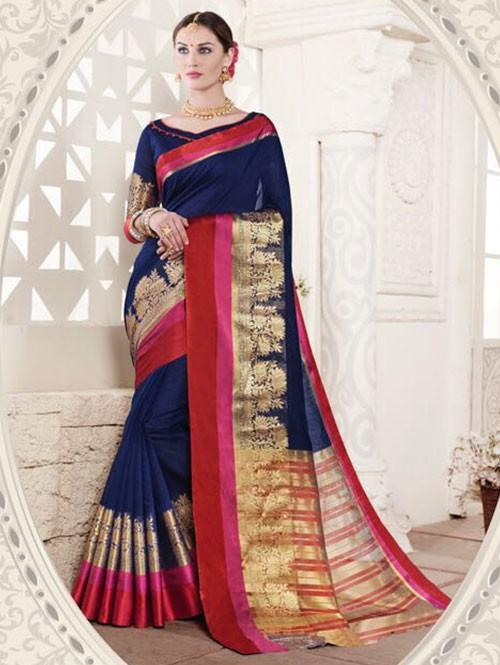 Blue Colored Cotton Silk Saree