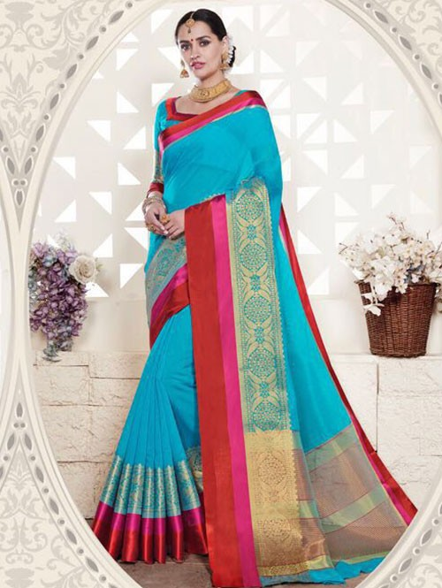 Blue Colored Cotton Silk Saree