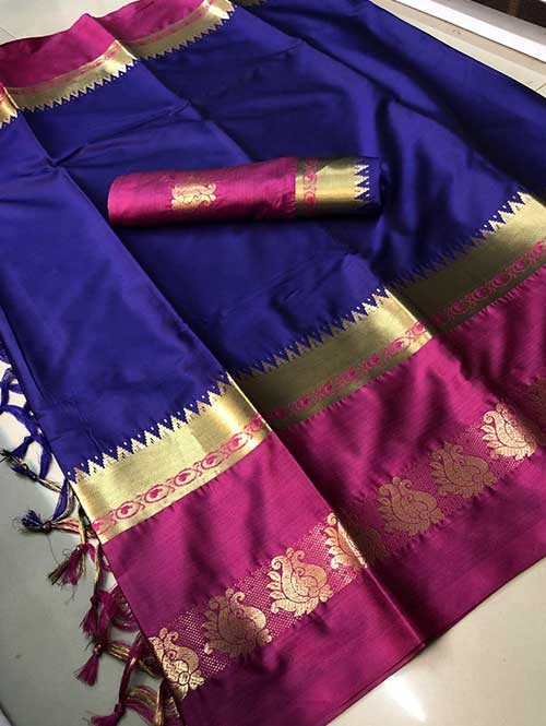 Blue Colored Cotton Silk Saree - Karishma