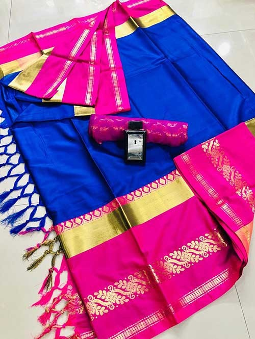 Blue Colored Cotton Silk Saree - Payal