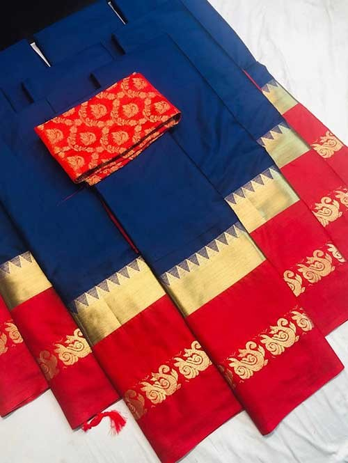 Blue Colored Cotton Silk Saree with Extra Blouse - Priya