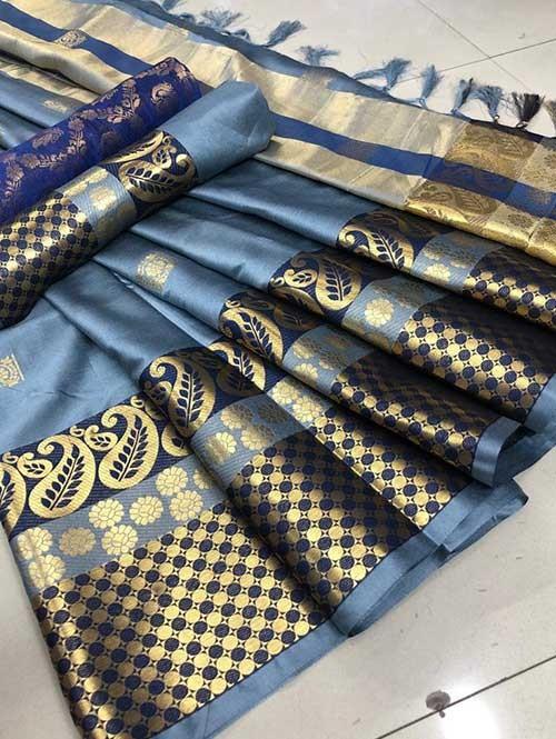 Blue Colored Cotton Silk Saree - Shawa