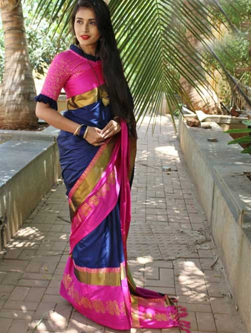 Blue Colored Cotton Silk Saree with Extra Blose Piece - Rich Mayurica