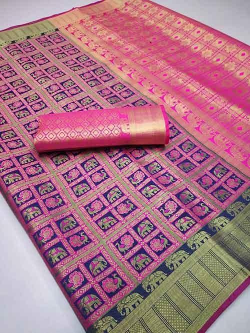 Blue Colored Designer Soft Banarasi Silk Jacquard Weaving - indian saree