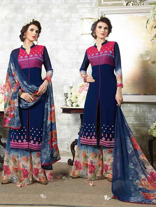 Navy Blue Colored Designer Suit With Beautiful Plazzo.