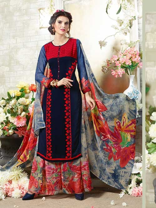 Blue Colored Designer Suit With Beautiful Plazzo.