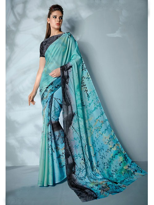 Blue Colored Digital Printed Cotton Bladed Saree