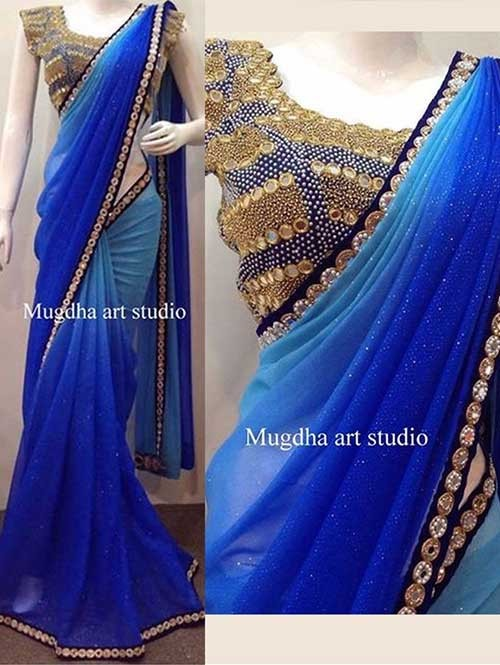 Blue Colored Embroidered Georgette Saree