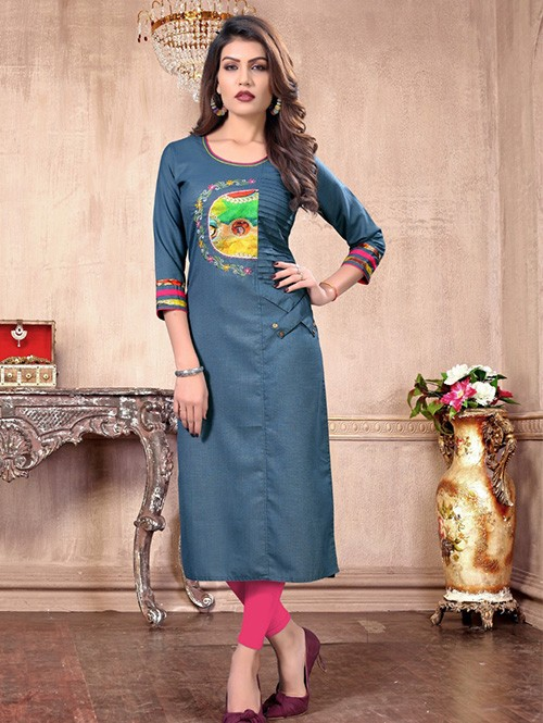 Blue Colored Embroidered Straight Cotton Silk Kurti Online