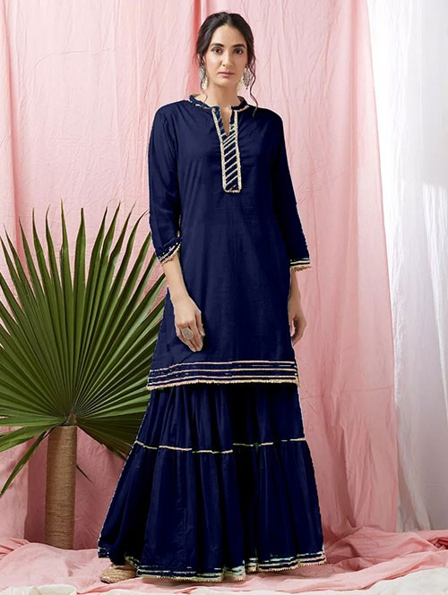 Blue Colored Glorious Rayon Sharara Pant and Kurta With Gotta Patti - Eid Special
