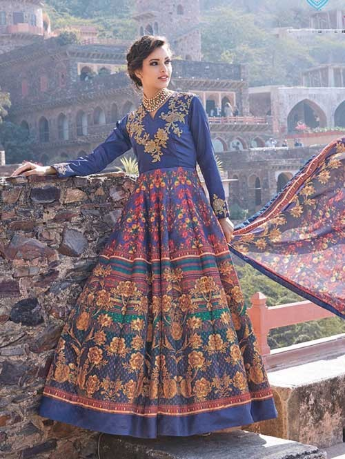 Blue colored Gorgeous Printed Tapeta Silk Anarkali Suit.