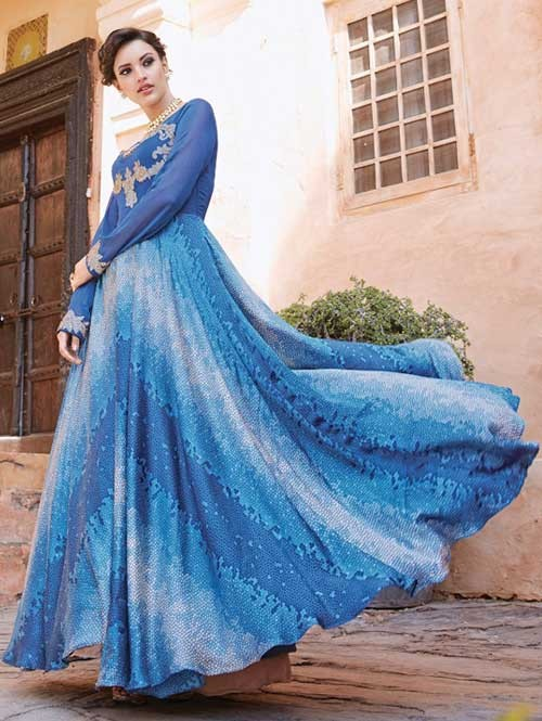 Blue colored Gorgeous Printed Nylon Silk Anarkali Suit.