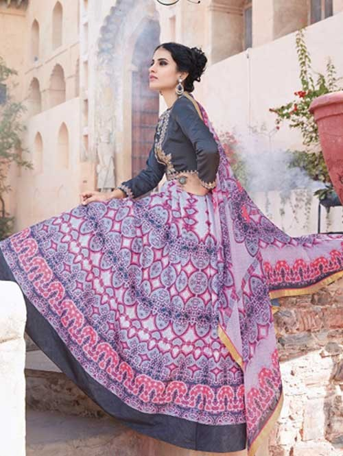 Blue colored Gorgeous Printed Tapeta Silk Anarkali Suit