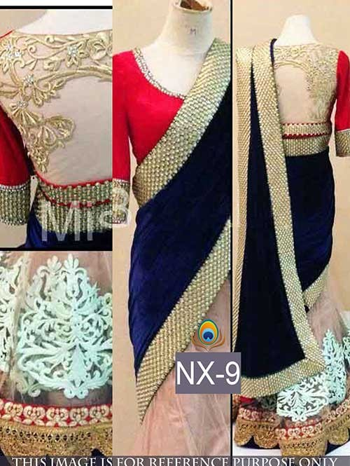 Blue Colored Gorgeous Velvet And Net Saree With Beautiful Blouse