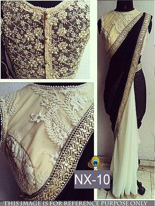Black and White Colored Gorgeous Velvet And Chiffon Georgette Saree With Beautiful Blouse