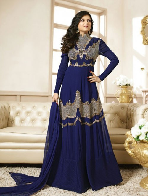 Blue Colored Heavy Embroidered Georgette Salwar Suit