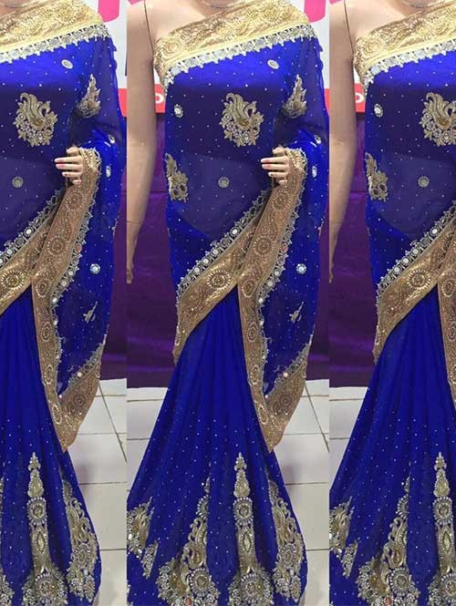 vy Embroidered Georgette Saree With Beautiful Mirror-work and Stonework
