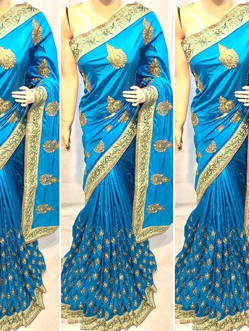 Sky Colored Heavy Embroidered Pure silk Saree