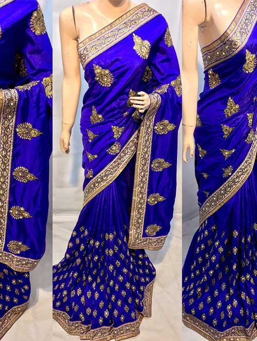 Blue Colored Heavy Embroidered Pure silk Saree
