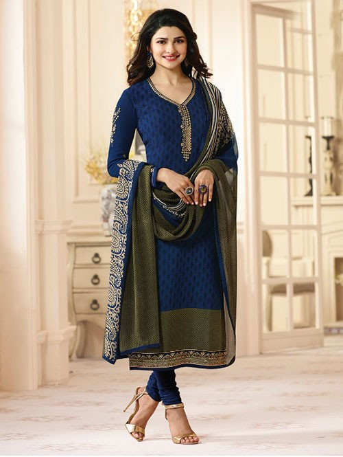 Blue Colored Heavy Embroidered Royal Crepe Salwar Suit