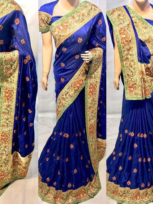Blue Colored Heavy Embroidered Silk Indian Traditional Wear Saree