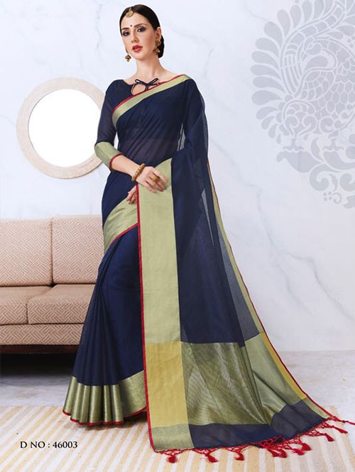 Blue Colored Kota Silk Saree